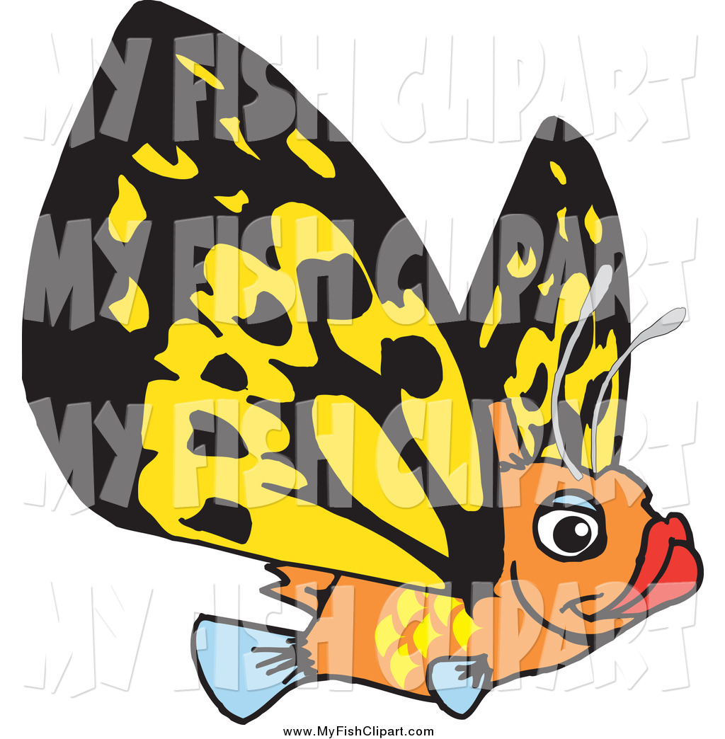 1024x1044 Clip Art Of A Flying Orange Fish With Butterfly Wings By Dennis