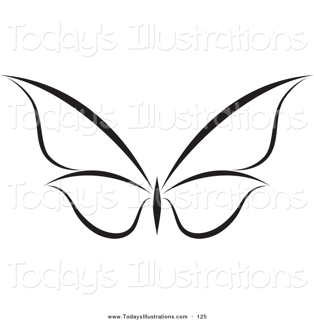 1024x1044 Clipart Of A Black And White Flying Butterfly Logo With Wings