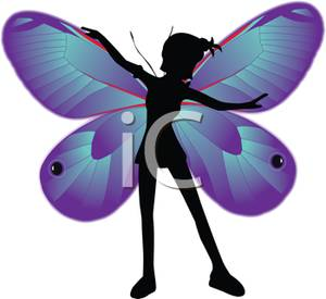 300x275 Silhouette Of A Girl With Butterfly Wings Clip Art Image
