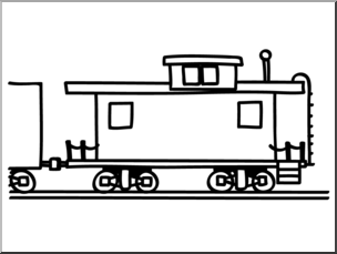 304x229 Clip Art Basic Words Caboose (Coloring Page) I