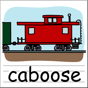 304x304 Clip Art Basic Words Caboose Color Labeled I Abcteach