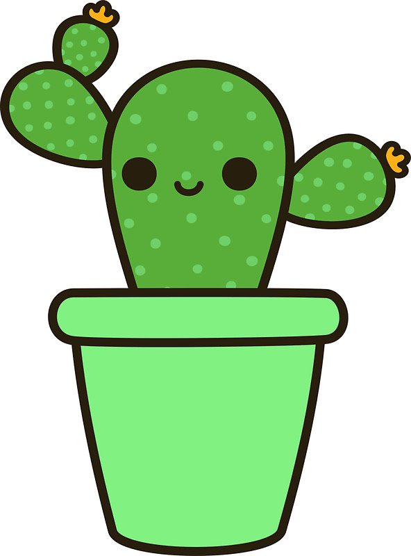 592x800 Cute Cactus In Green Pot Stickers Cacti