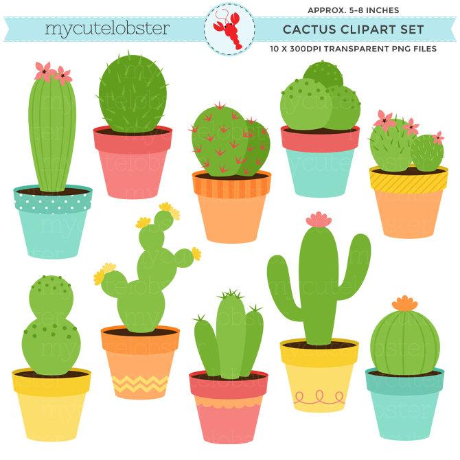 670x670 Happy Cactus Clipart Set cute cactus clip art set cacti
