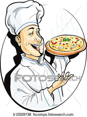 350x470 Clip Art Of Cook With Pizza K12029738