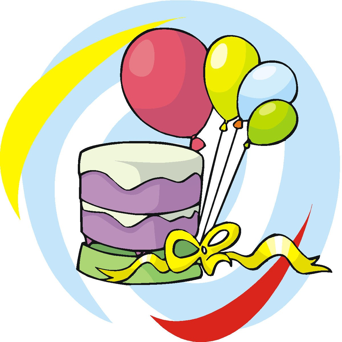 1200x1200 Birthday Cake And Balloons Clipart