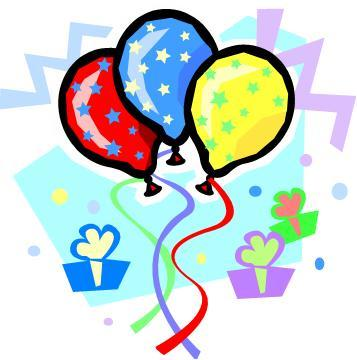 357x360 Birthday Cake And Balloons Clipart