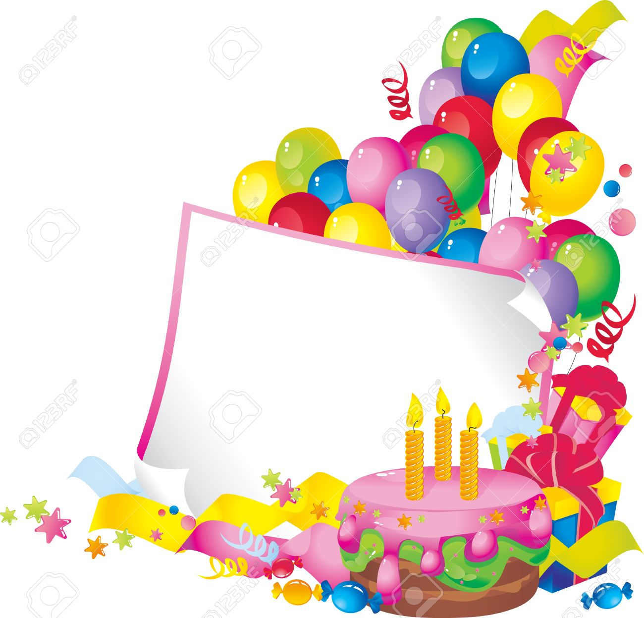 1300x1247 Bright Holiday Composition Of Cake, Balloons, Gift Boxes, Confetti