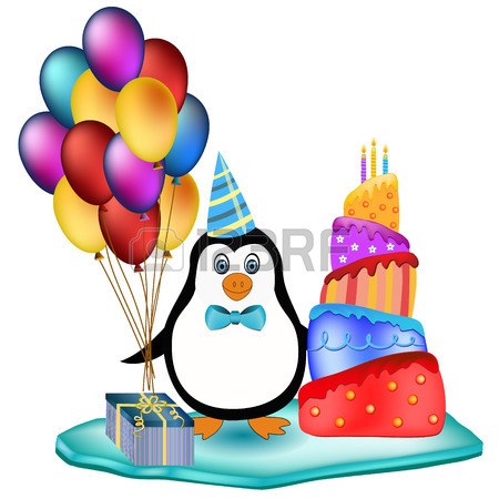 450x450 Cute Happy Birthday Penguins Concept With Present, Cake