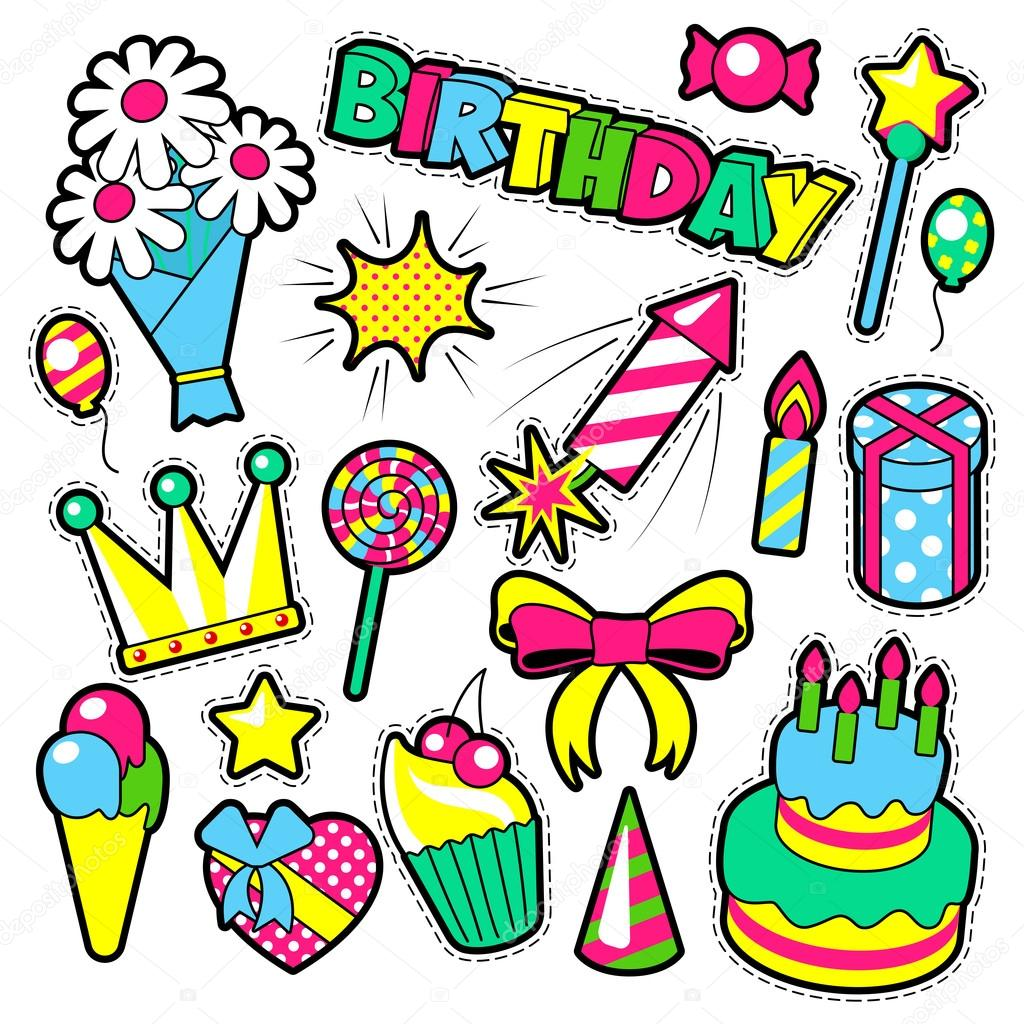1024x1024 Fashion Badges, Patches, Stickers Birthday Theme. Happy Birthday