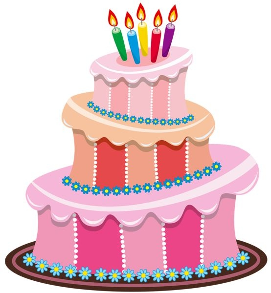 554x600 Free Clipart Birthday Cake Balloons
