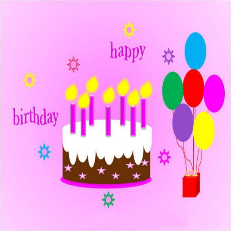 768x768 Luxury Happy Birthday Cake And Balloons Modern Happy Birthday Card