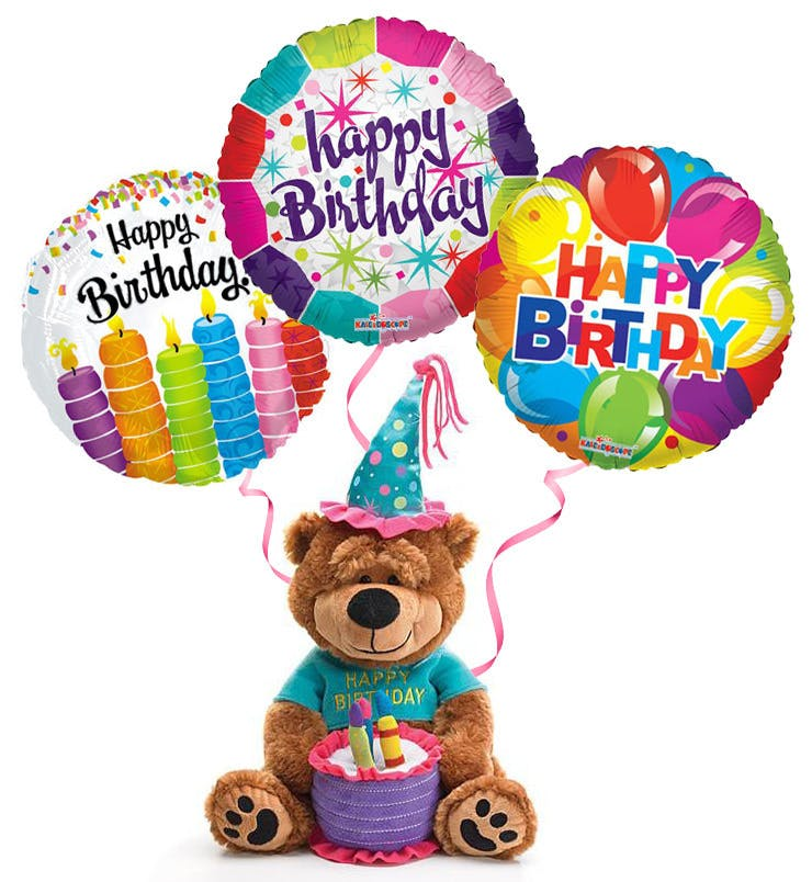 740x804 Plush Birthday Bear With Balloons The Cake Plays Happy
