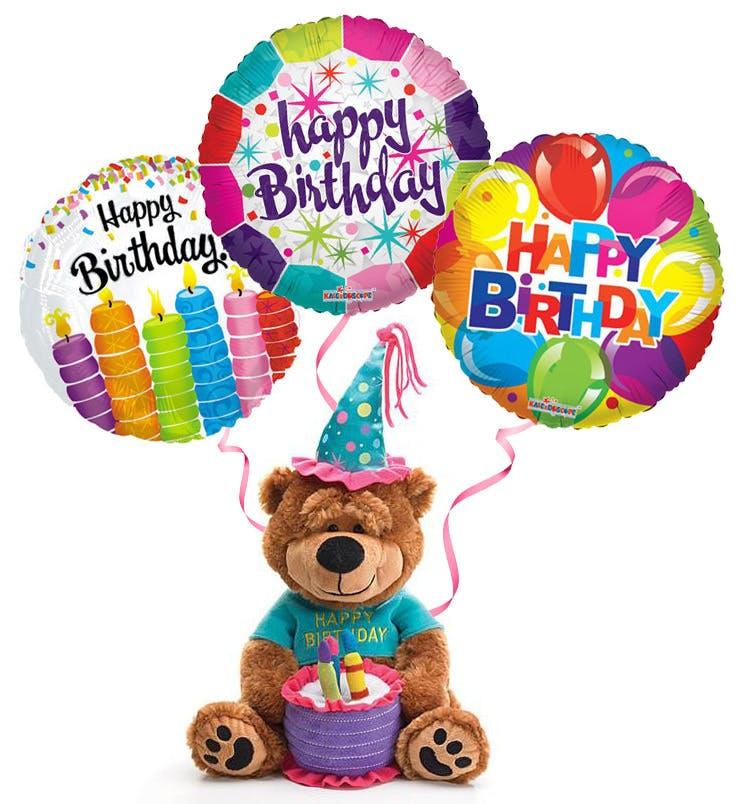 740x804 Plush Birthday Bear With Balloons The Cake Plays Happy Birthday