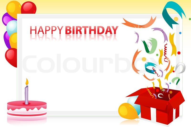 800x534 Vector Illustration Of Birthday With Balloons And Cake And Sample