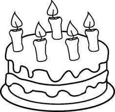 Birthday Cake Without Candles Clipart Black And White Delicious