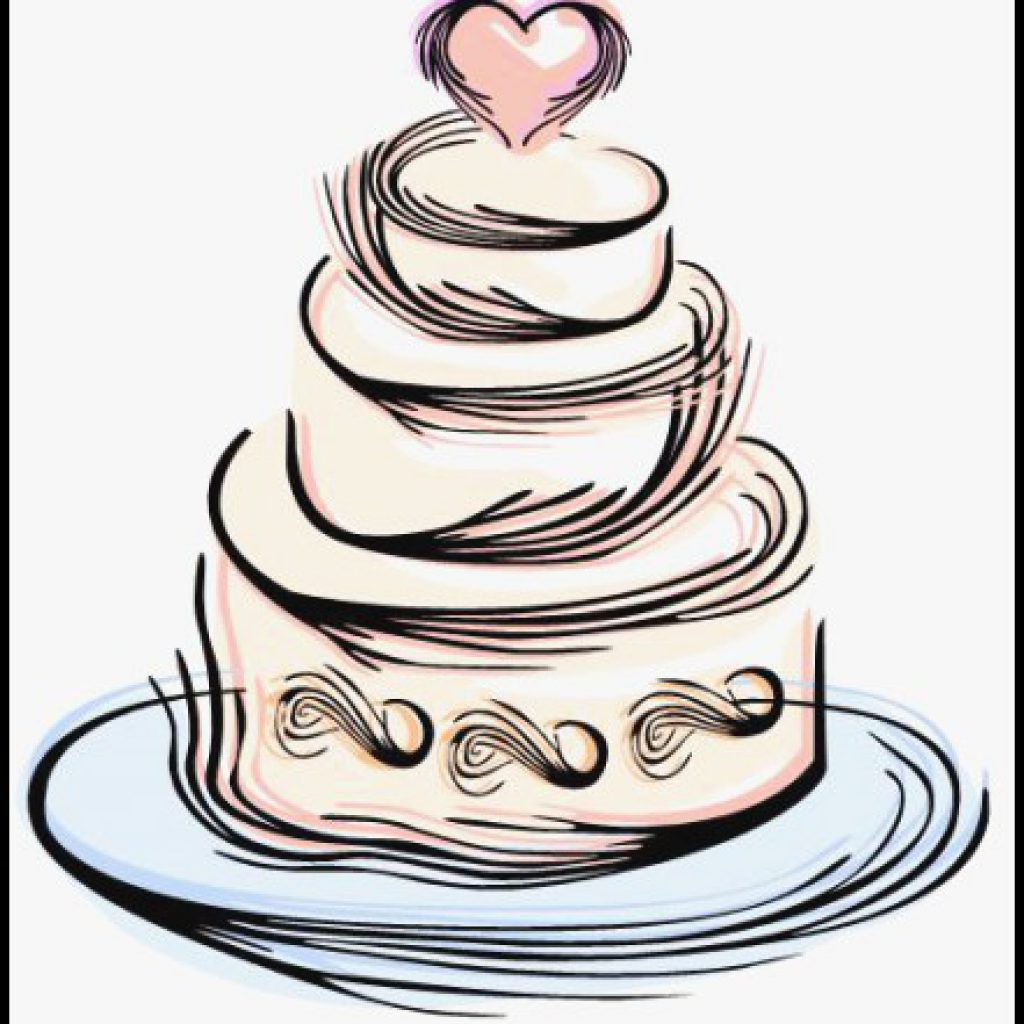 1024x1024 Wedding Cake Clipart Beautiful Cake Black And White Simple Wedding