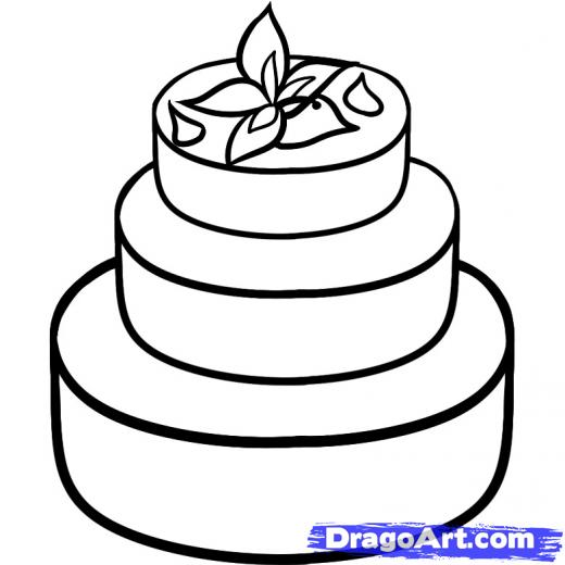 520x520 Drawn Wedding Cake Line Drawing