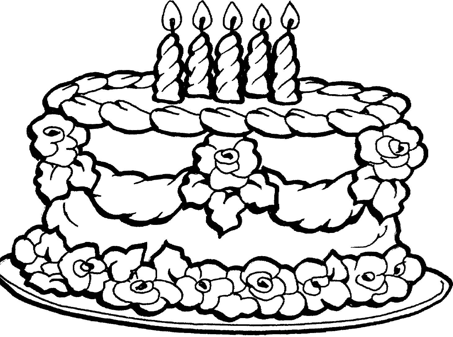 1462x1088 Pictures Birthday Cake Coloring Pages 90 For Your Line Drawings