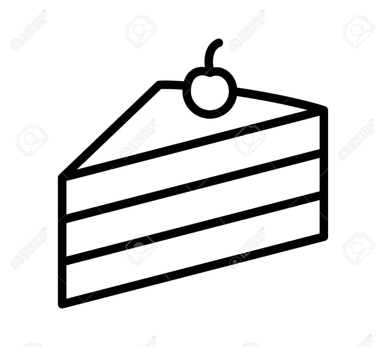1300x1170 Sliced Of Layer Dessert Cake With Cherry On Top Line Art Vector