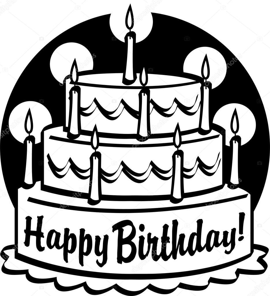 936x1023 Triple Tiered Birthday Cake With Candles Stock Vector
