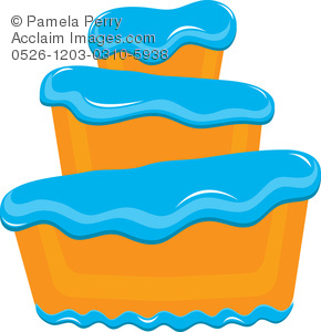290x300 Art Illustration Of A Bakery Cake With Fluffy Blue Frosting
