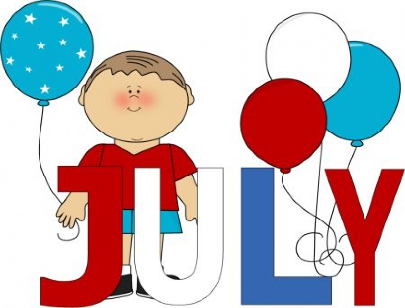 820x623 Red White And Blue July Months Clip Art Calendar