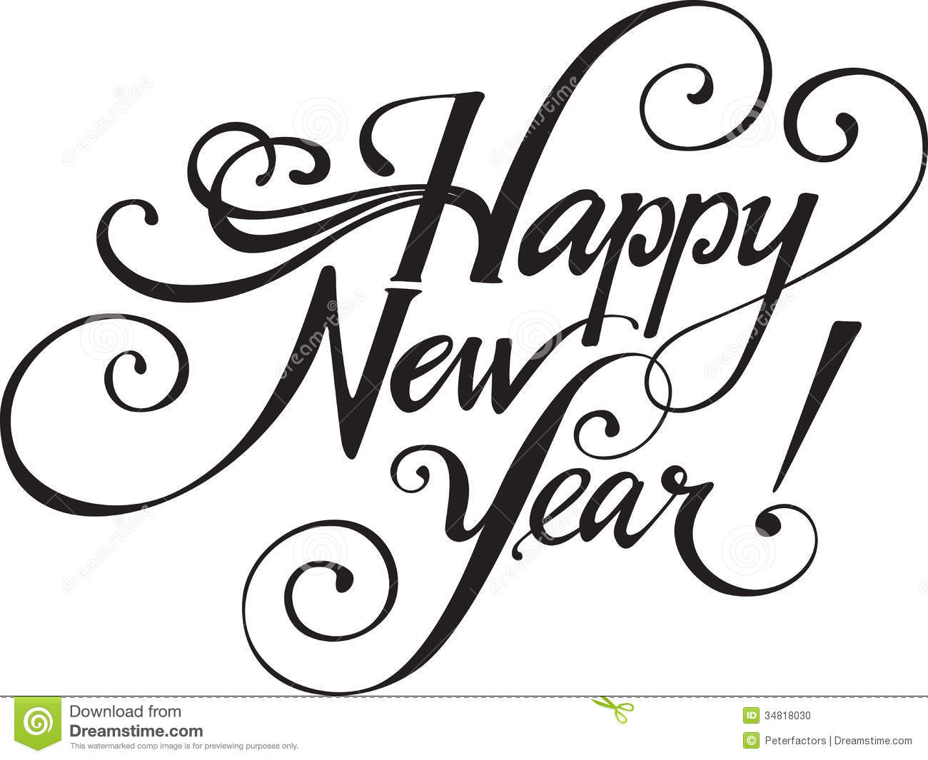 1300x1065 happy new year black and white clipart