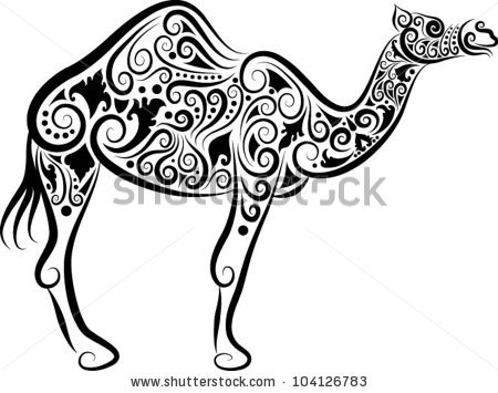 450x355 Camel Decorative Ornament. Animal Sketch With Floral Ornament