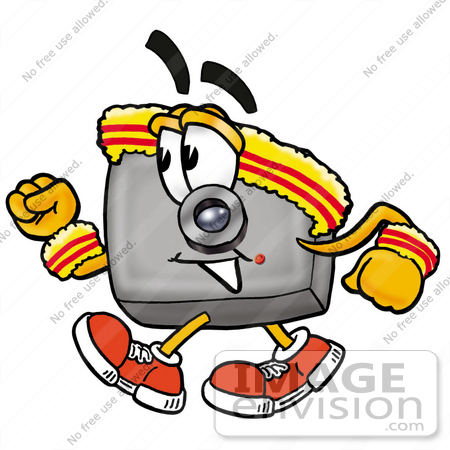 450x450 Clip Art Graphic Of A Flash Camera Cartoon Character Speed Walking