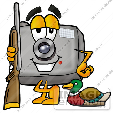 450x450 Clip Art Graphic Of A Flash Camera Cartoon Character Duck Hunting