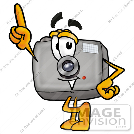 450x450 Clip Art Graphic Of A Flash Camera Cartoon Character Pointing