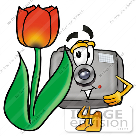 450x450 Clip Art Graphic Of A Flash Camera Cartoon Character With A Red