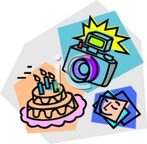 300x294 Flash Camera With A Birthday Cake Clip Art Image