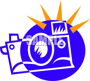 350x312 Royalty Free Clipart Image Icon Of A Camera With The Flash Going Off