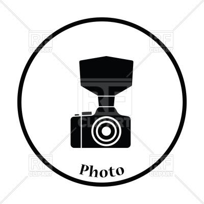 400x400 Thin Circle Design Of Camera With Fashion Flash Icon Royalty Free