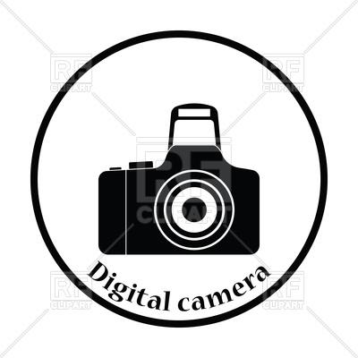 400x400 Thin Circle Design Icon Of Photo Camera Royalty Free Vector Clip