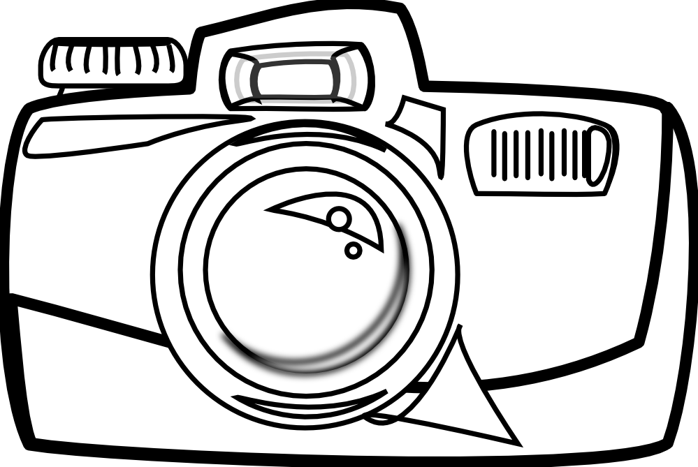 999x669 Camera Clipart Black And White