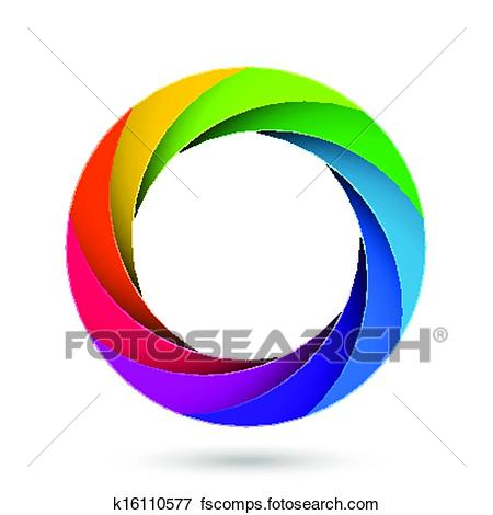 450x470 Clip Art Of Colorful Camera Shutter Aperture K16110577