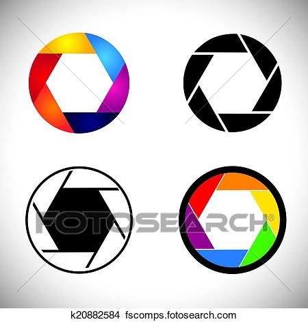 450x470 Clipart Of Camera Lens Shutter Aperture Abstract Icons