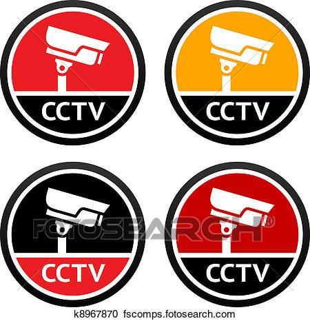 450x466 Clipart Of Cctv Pictogram, Set Sign Security Camera K8967870