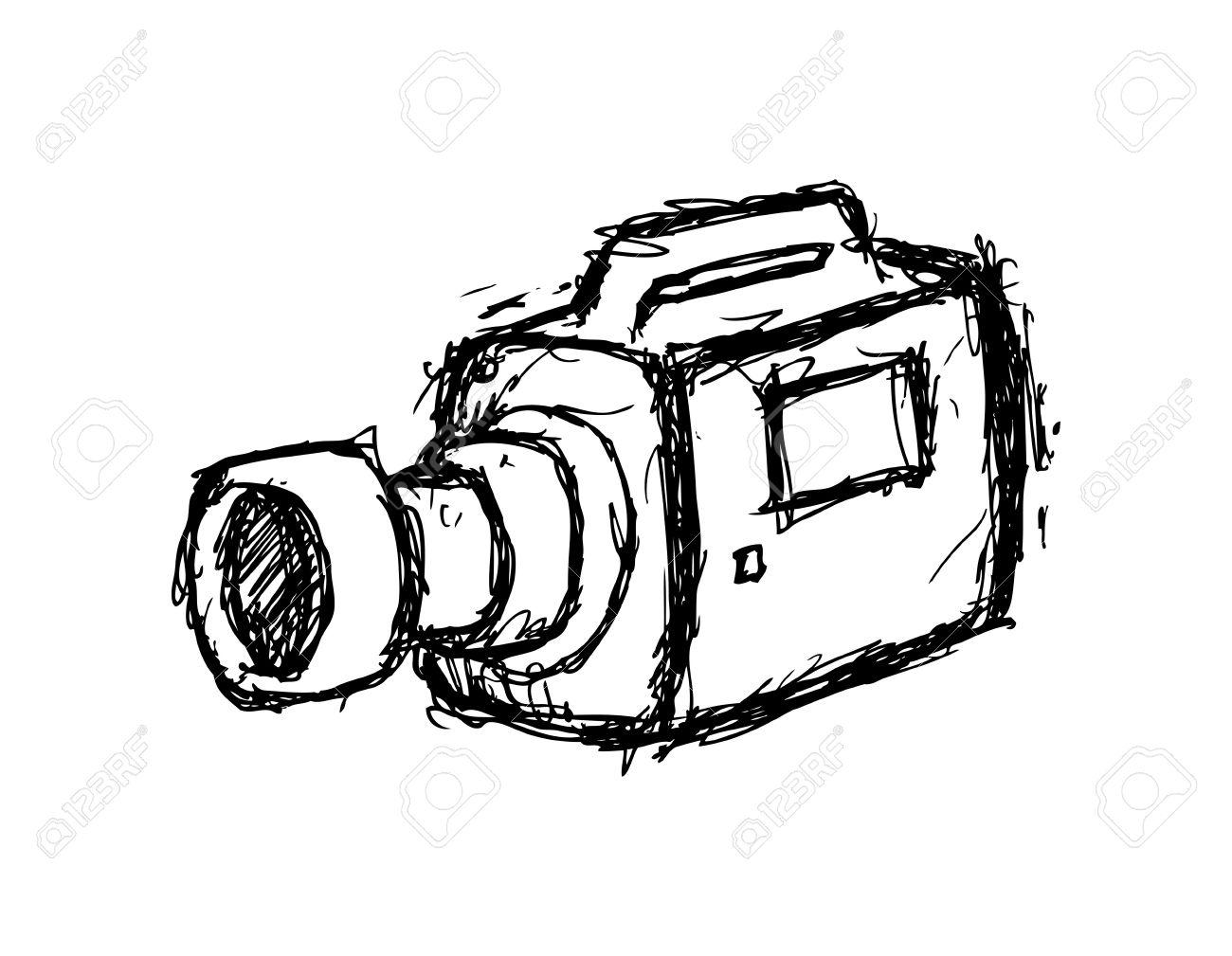 1300x1009 Hand Drawn Video Camera Royalty Free Cliparts, Vectors, And Stock
