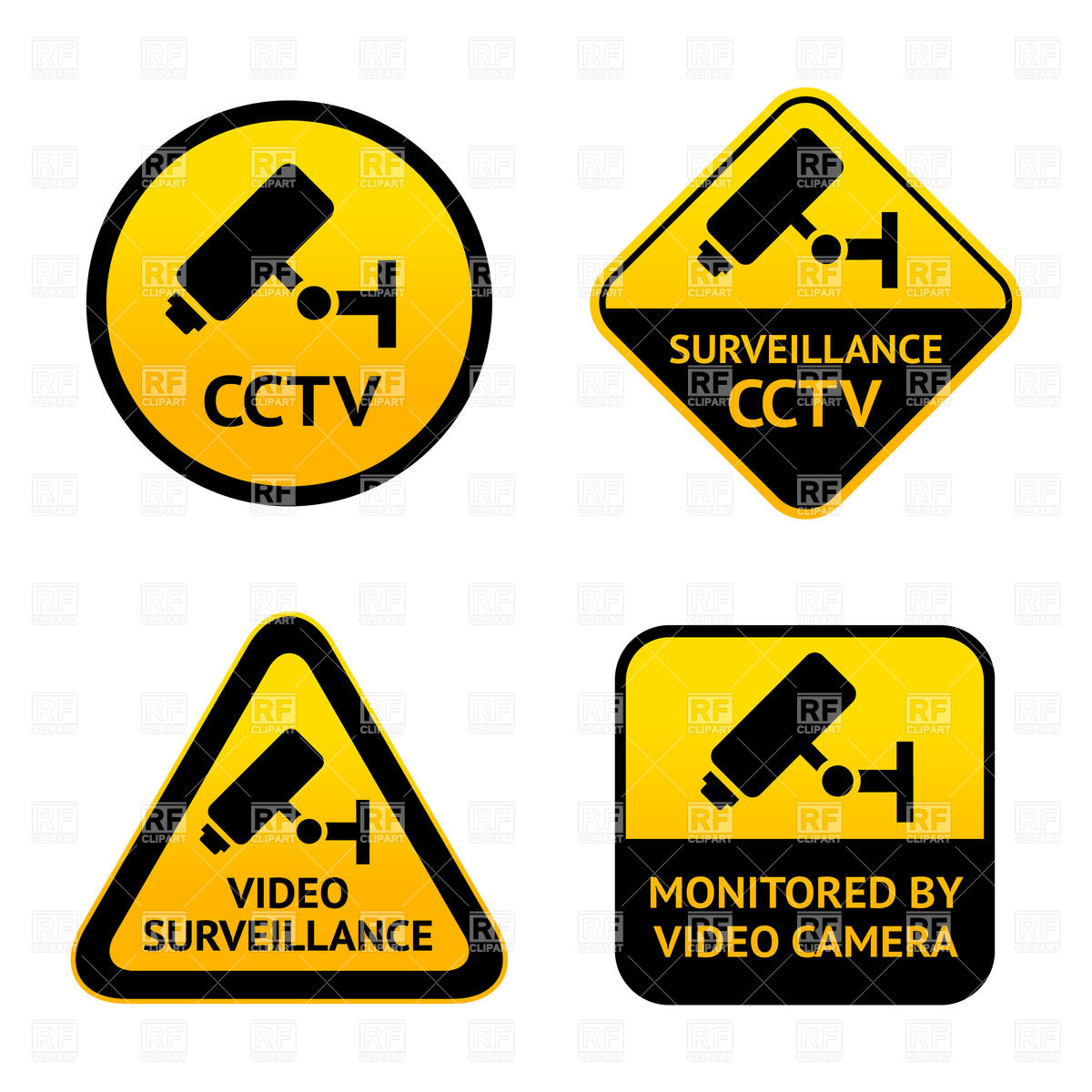 1200x1200 Video Surveillance, Set Of Symbols Of Security Camera Royalty Free