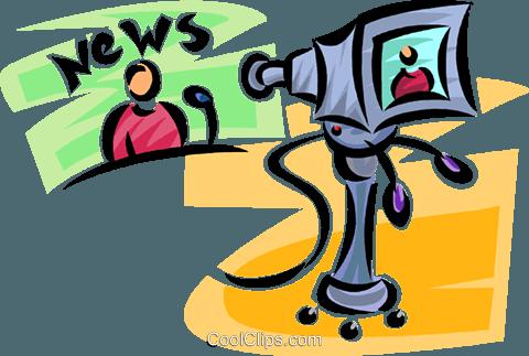480x323 News Anchor And Camera Royalty Free Vector Clip Art Illustration
