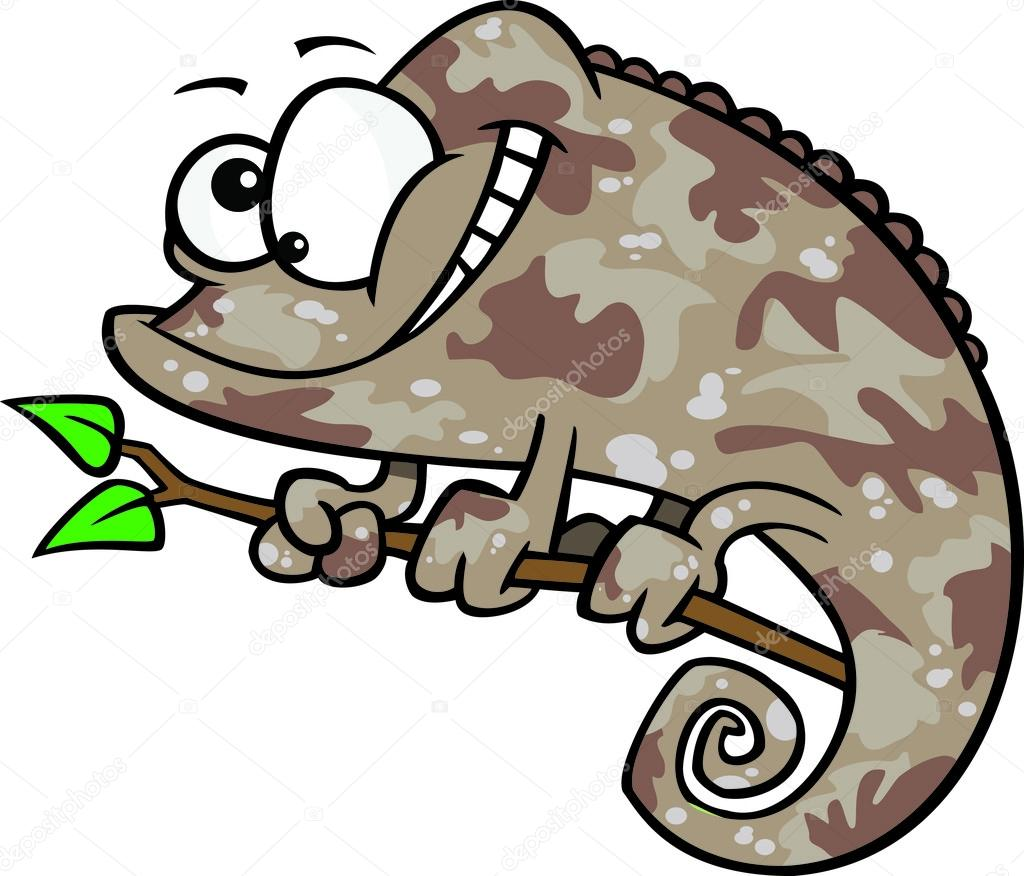 1024x876 Clipart Happy Cartoon Brown Chameleon Lizard With Camouflage