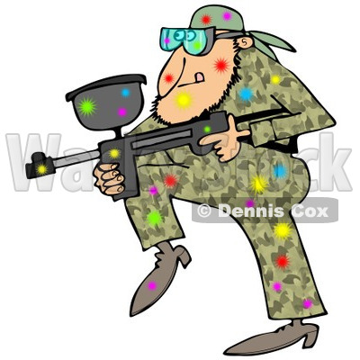 400x400 Of A Paintball Man In Camouflage, Covered In Colorful Splats