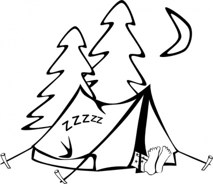425x368 Clip Art Camping Outline Camping Tent Camp Activities Tents