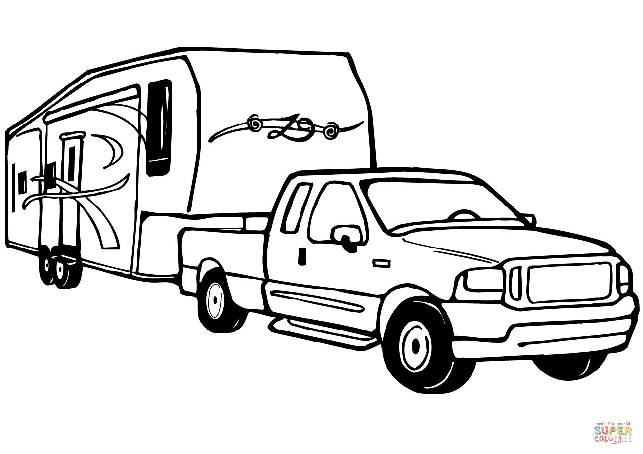 1301x919 Camper clipart truck and trailer