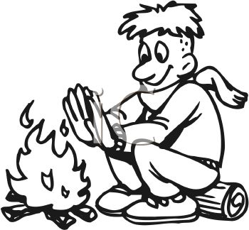 350x324 Picture of a Boy Sitting On a Log Warming His Hands By the