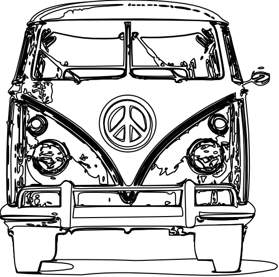 555x550 Vw Bus Bulli Black White Line Art Scalable Vector Graphics SVG
