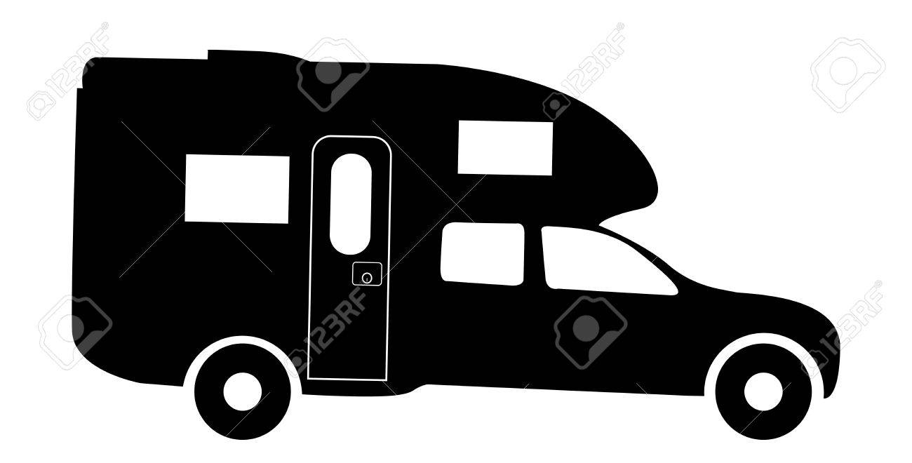 1300x660 A Truck Rv Camper Van Silhouette Isolated On A White Background
